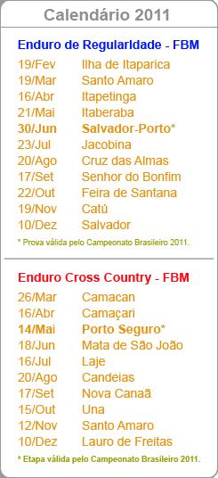 Calendário 2011 - Campeonato Baiano